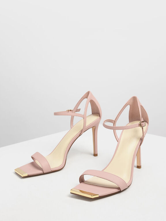 Square Toe Gold Detail Sandals, Nude