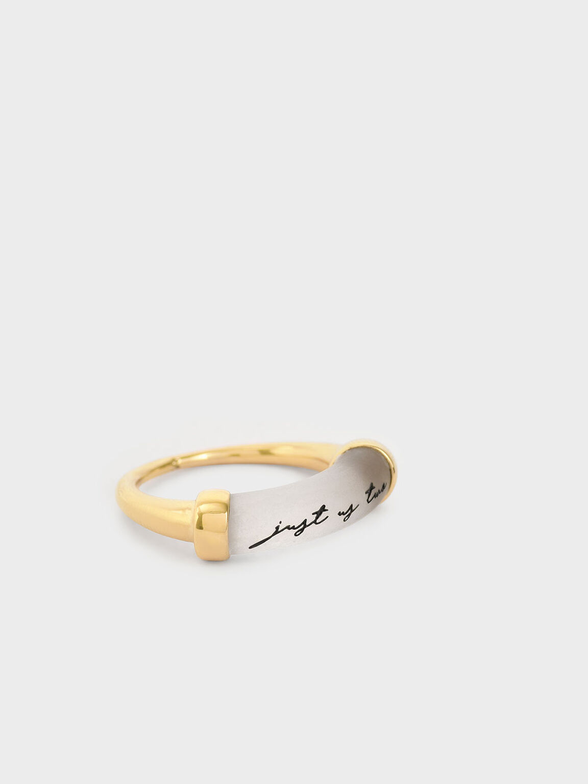 """Just Us Two"" Printed Ring, Gold, hi-res"