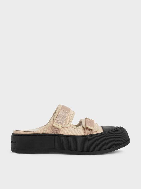 Canvas Velcro Sneaker Mules, Beige, hi-res