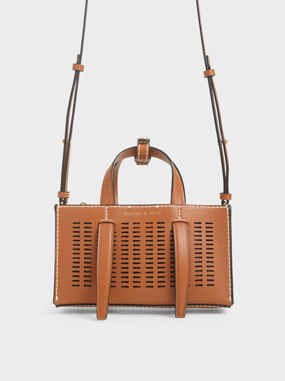 Laser-Cut Double Top Handle Bag, Cognac, hi-res