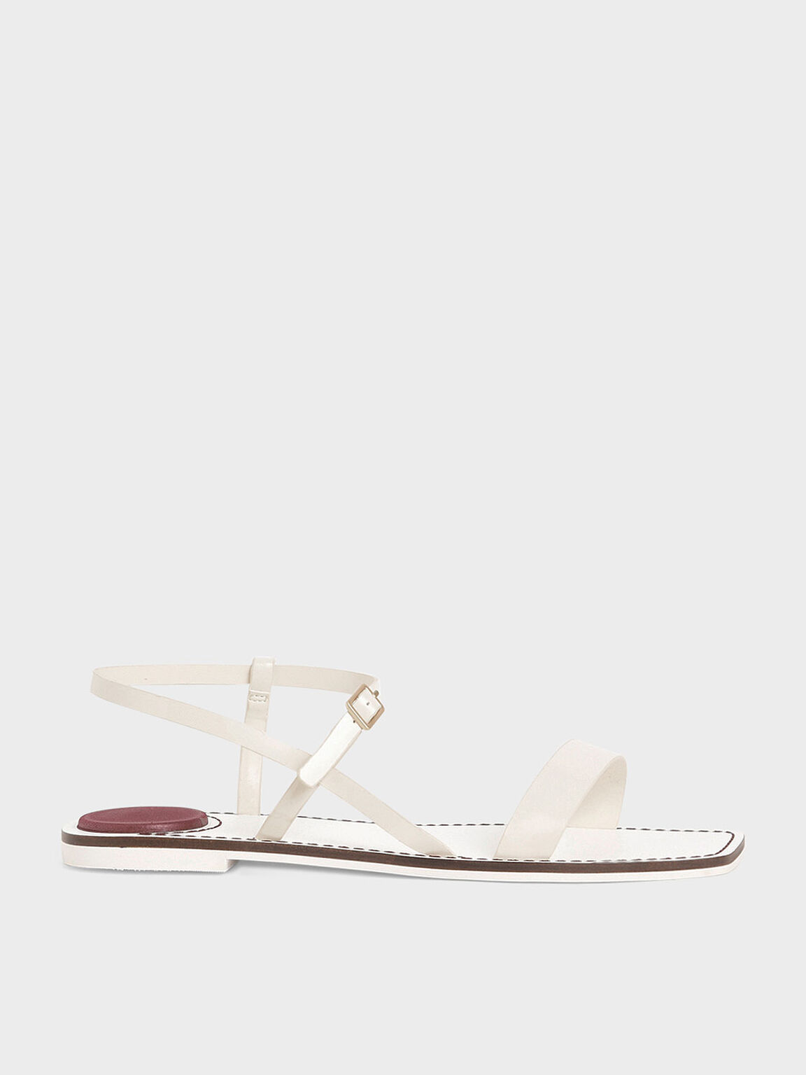 Patent Ankle Strap Flat Sandals, Cream, hi-res