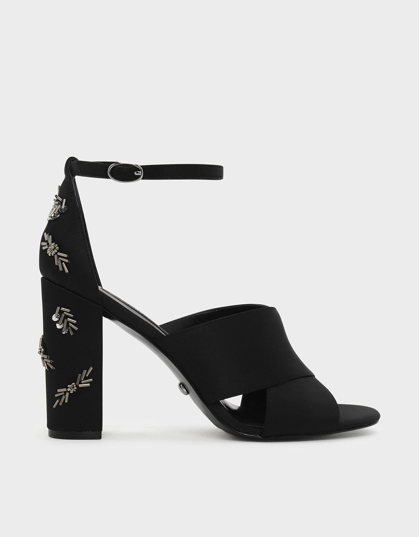 Black Embellished Block Heel Satin