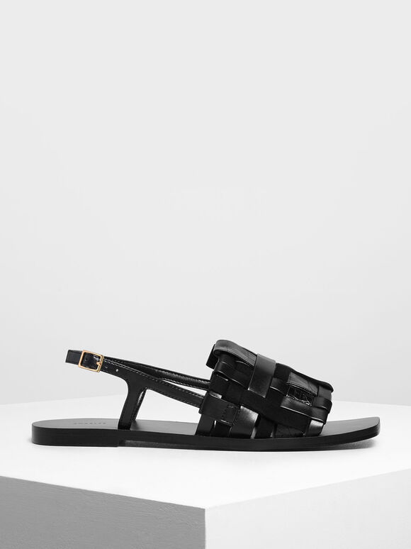Woven Slingback Sandals, Black, hi-res