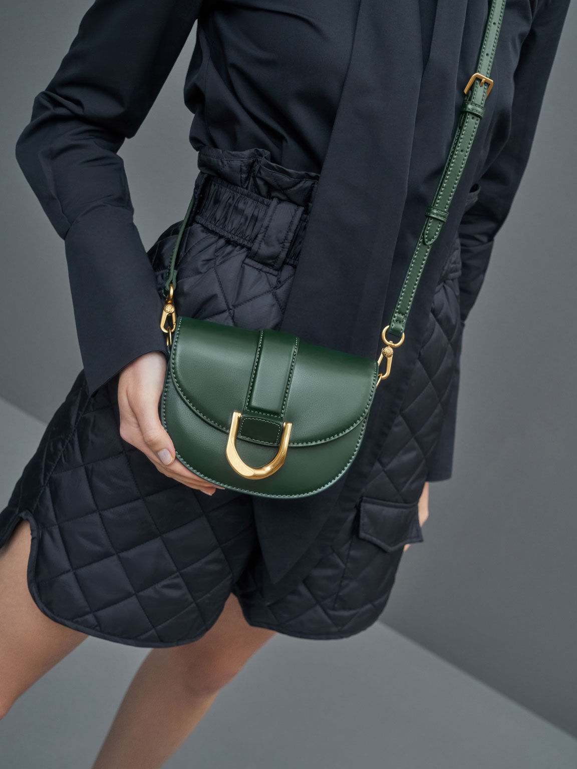 Mini Gabine Saddle Bag, Dark Green, hi-res