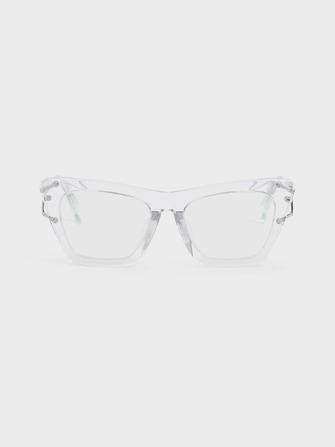 Acetate Butterfly Sunglasses, White, hi-res