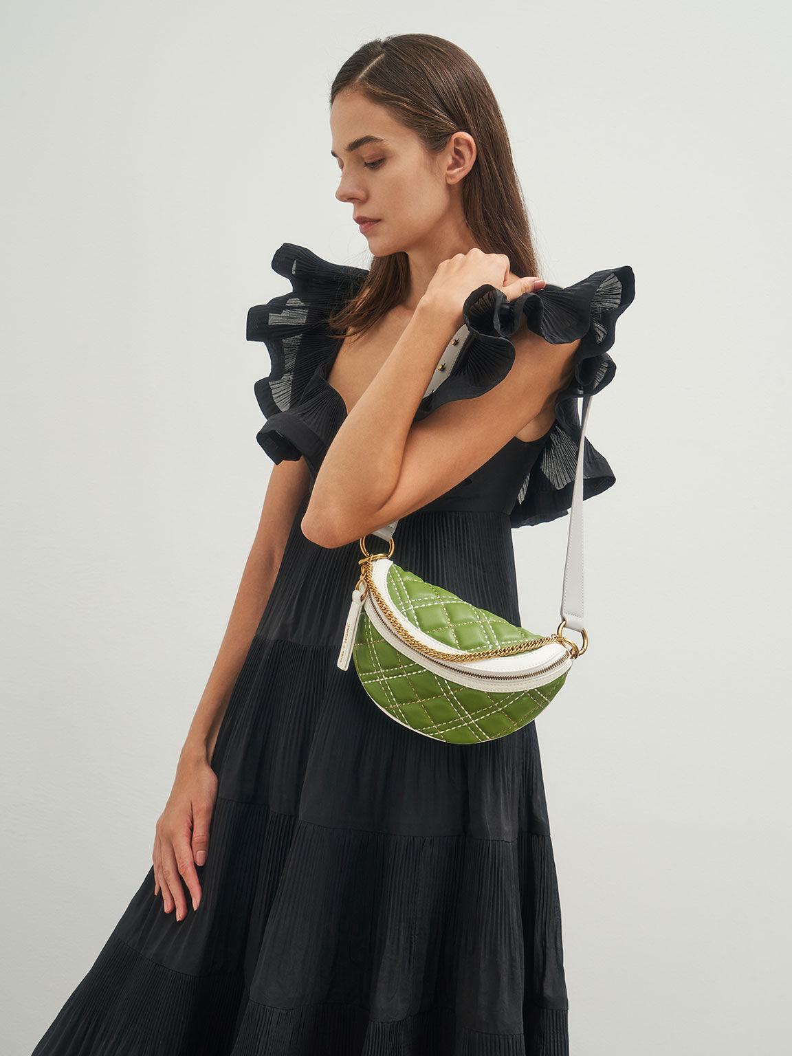 Half-Moon Crossbody Bag, Green, hi-res