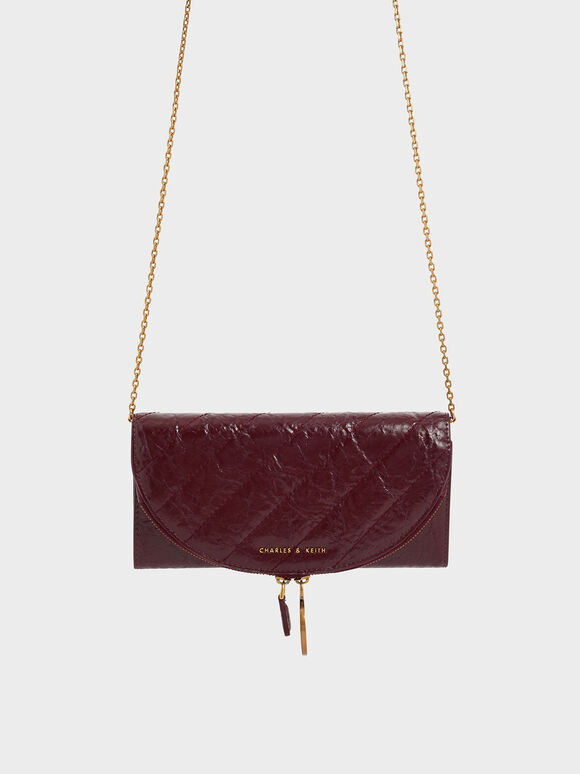 Wrinkled Effect Ring Zip Flap Long Wallet, Burgundy, hi-res