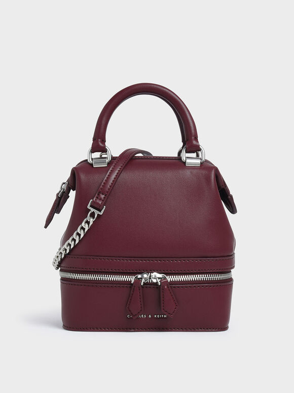 Two-Way Zip Boxy Bag, Burgundy, hi-res