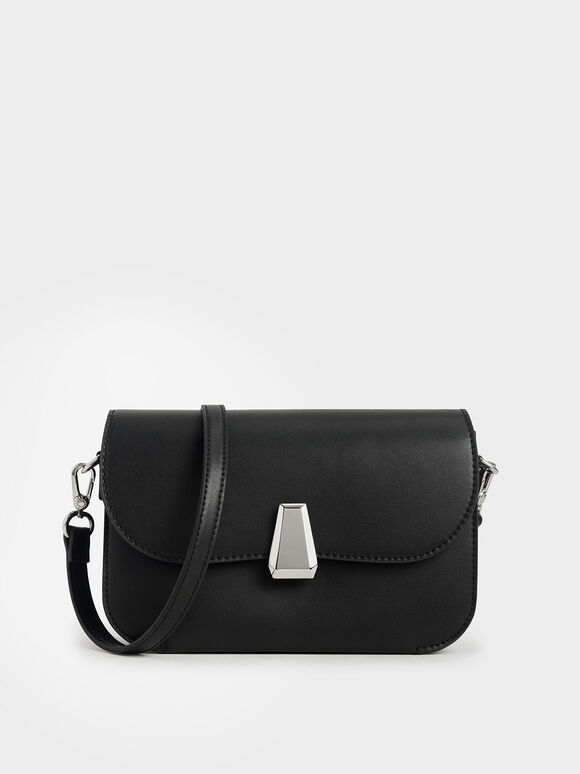 Geometric Accent Evening Bag, Black, hi-res