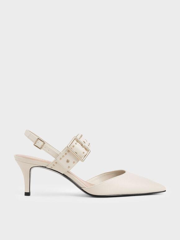 鉚釘尖頭跟鞋, 石灰白, hi-res