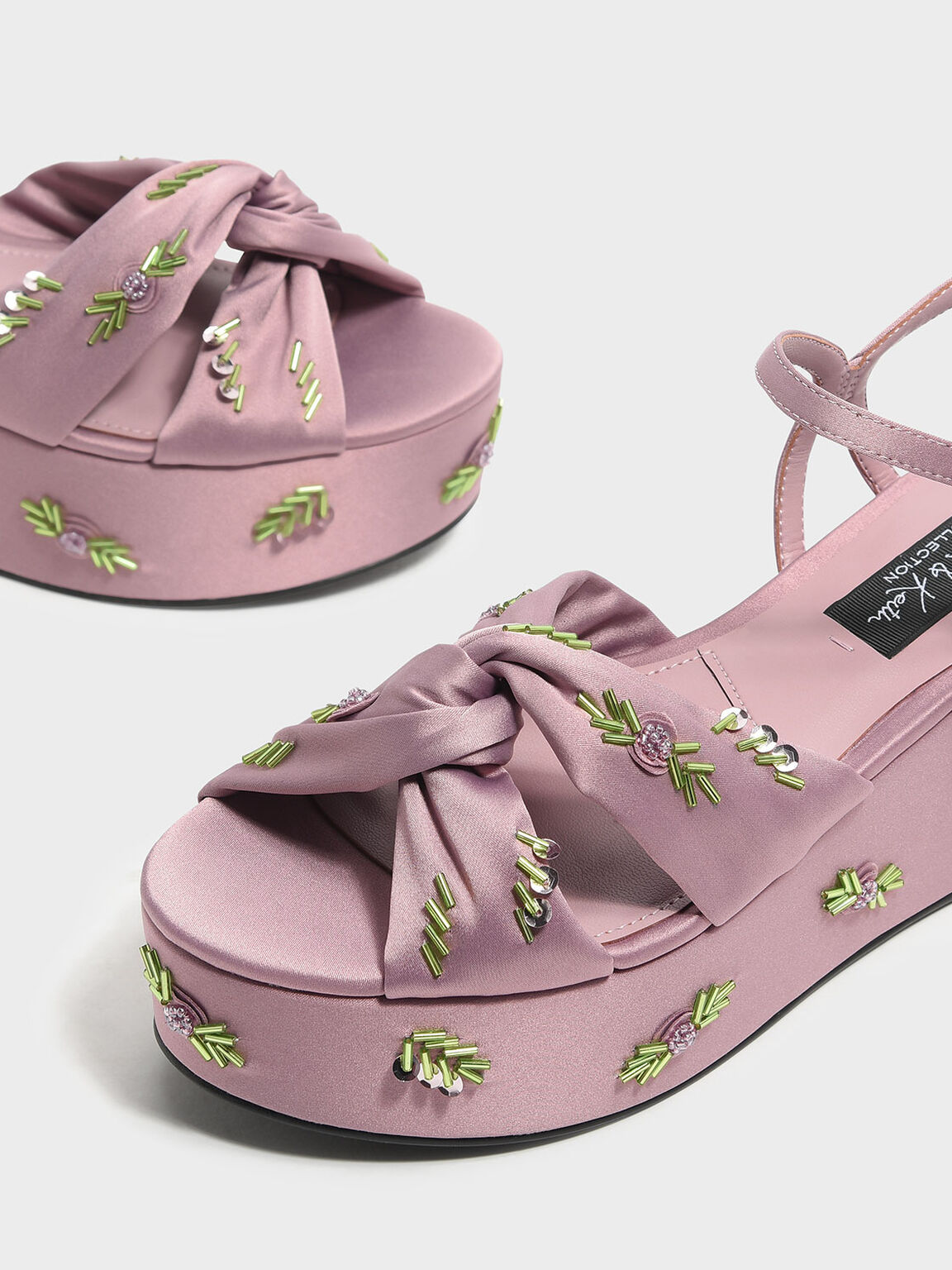 Embellished Satin Flatforms, Pink, hi-res