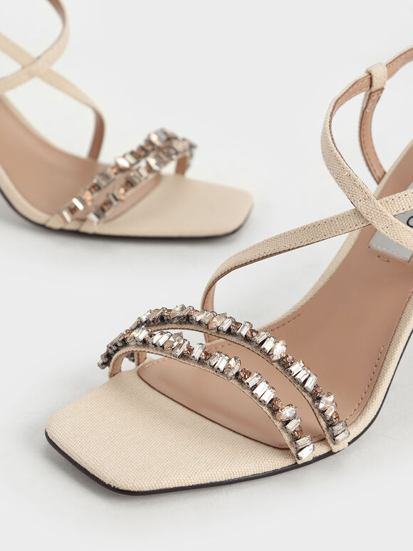 Canvas Gem-Embellished Sandals, Beige, hi-res