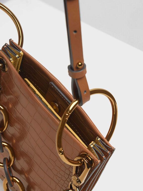 Croc-Effect Chunky Chain Handle U-Shaped Bag, Tan, hi-res