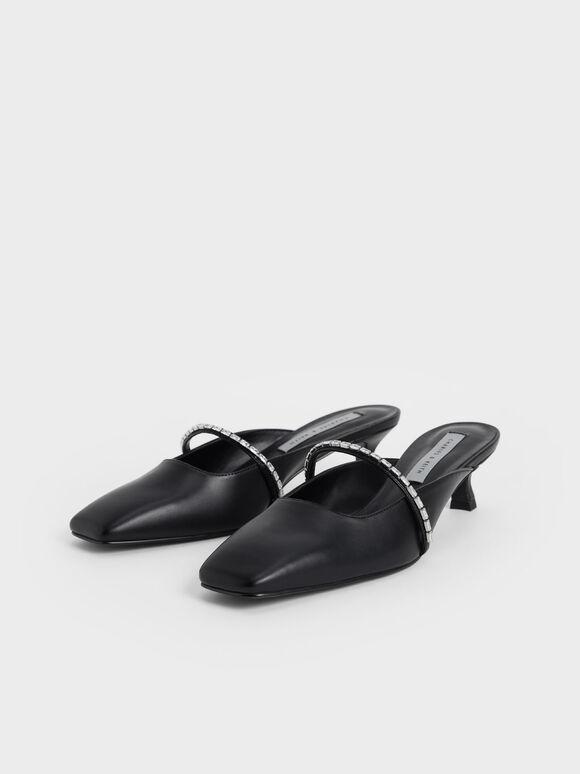 Gem-Embellished Square Toe Mules, Black, hi-res