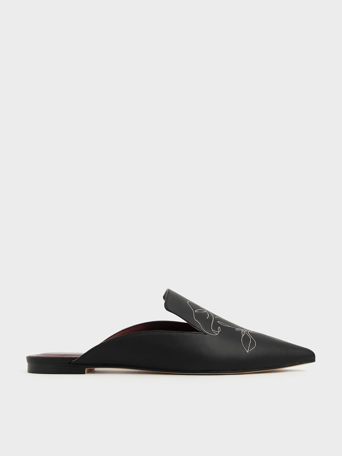 Floral Embroidered Pointed Toe Mules, Black, hi-res
