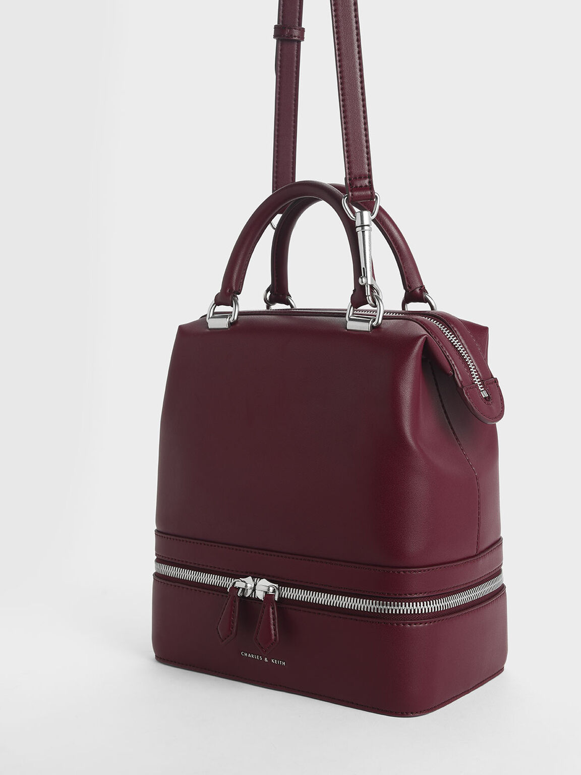 Two-Way Zip Large Boxy Bag, Burgundy, hi-res