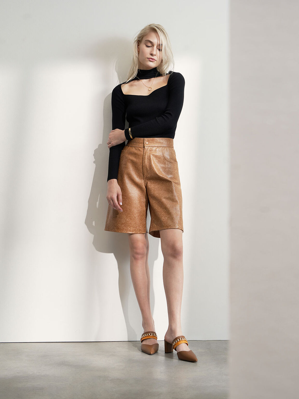 Leather Chain-Link Mules, Multi, hi-res