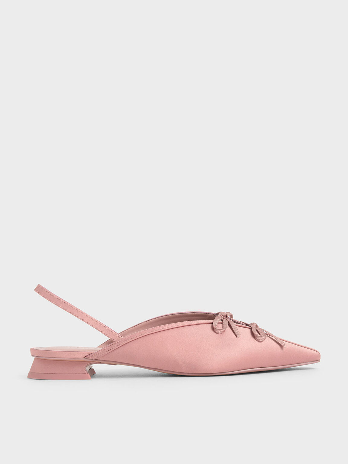 Satin Double Bow Slingback Flats, Pink, hi-res