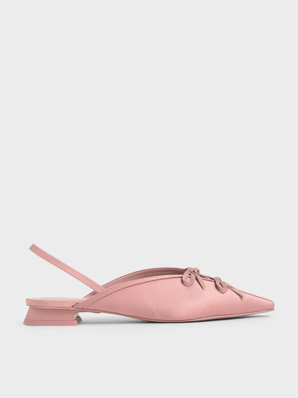 Satin Double Bow Slingback Flats, Pink, hi-res