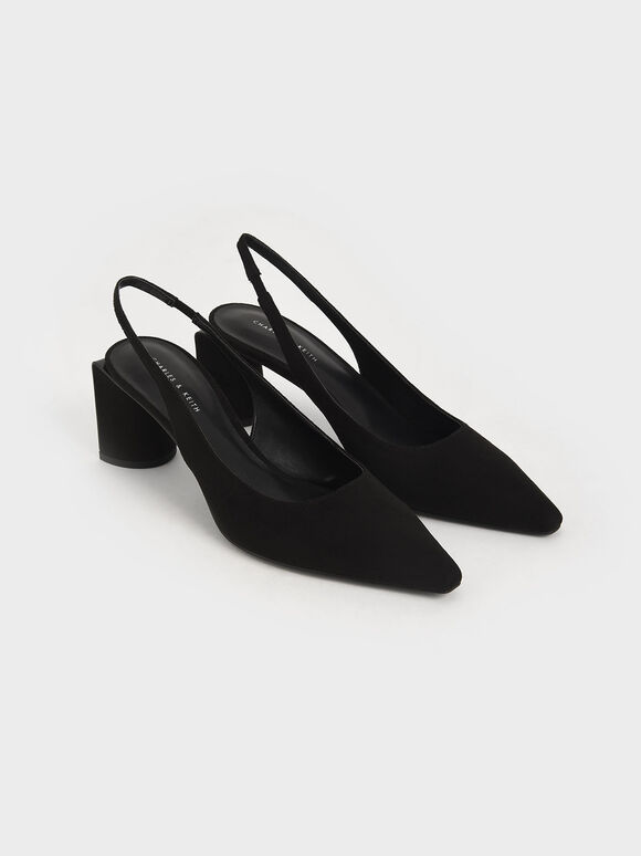 Textured Half Moon Slingback Court Shoes, Black, hi-res