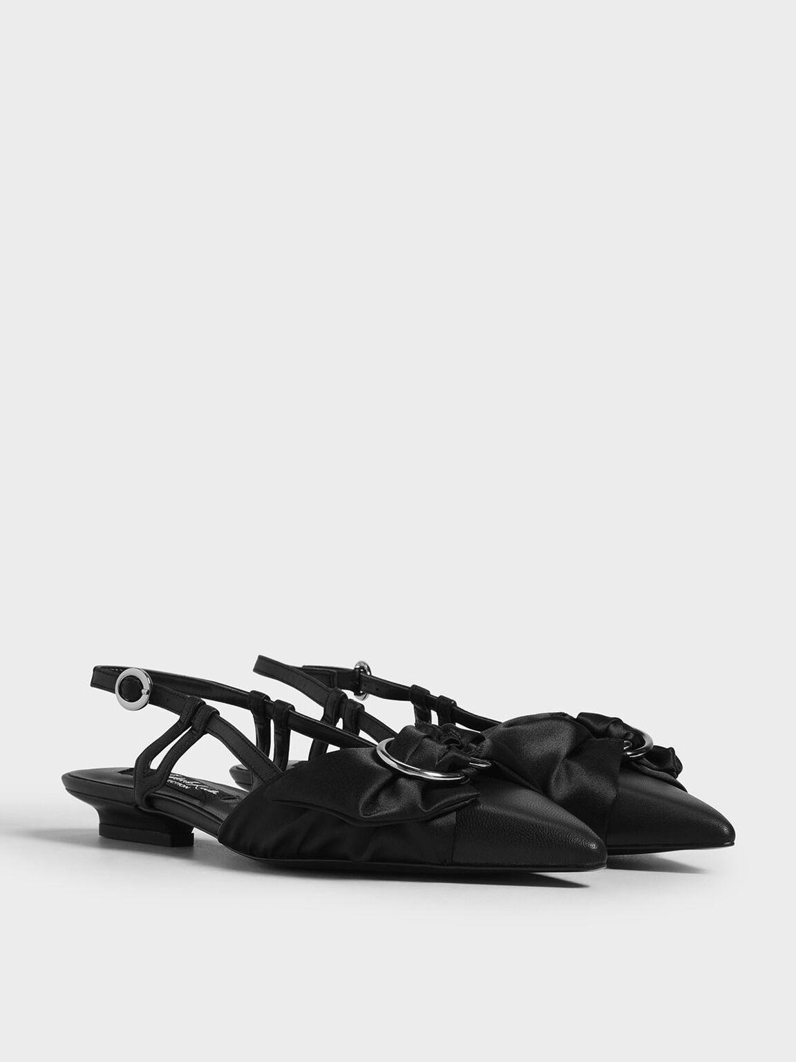 真皮絲巾平底鞋, 黑色, hi-res
