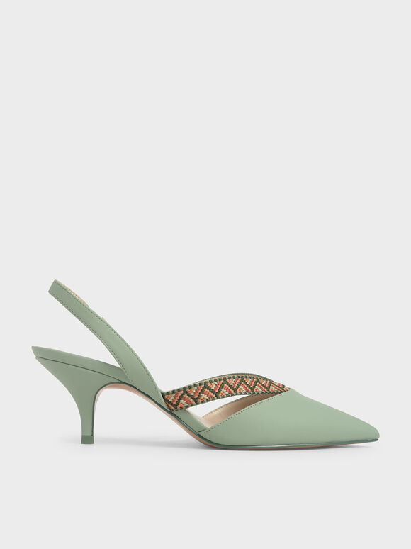 Woven Band Slingback Pumps, Green, hi-res