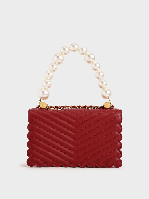 Pearl-Embellished Crossbody Bag, Red, hi-res