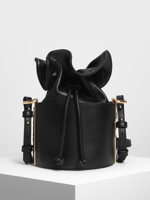 Leather Drawstring Bucket Bag, Black, hi-res