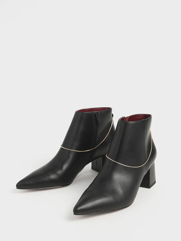 Chain Link Ankle Boots, Black, hi-res
