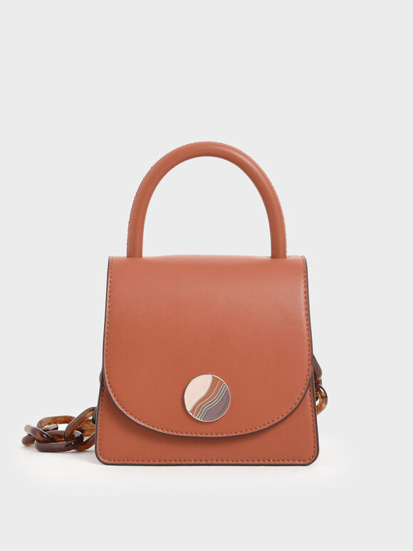 Tortoiseshell Chunky Chain Handle Mini Bag, Brick, hi-res