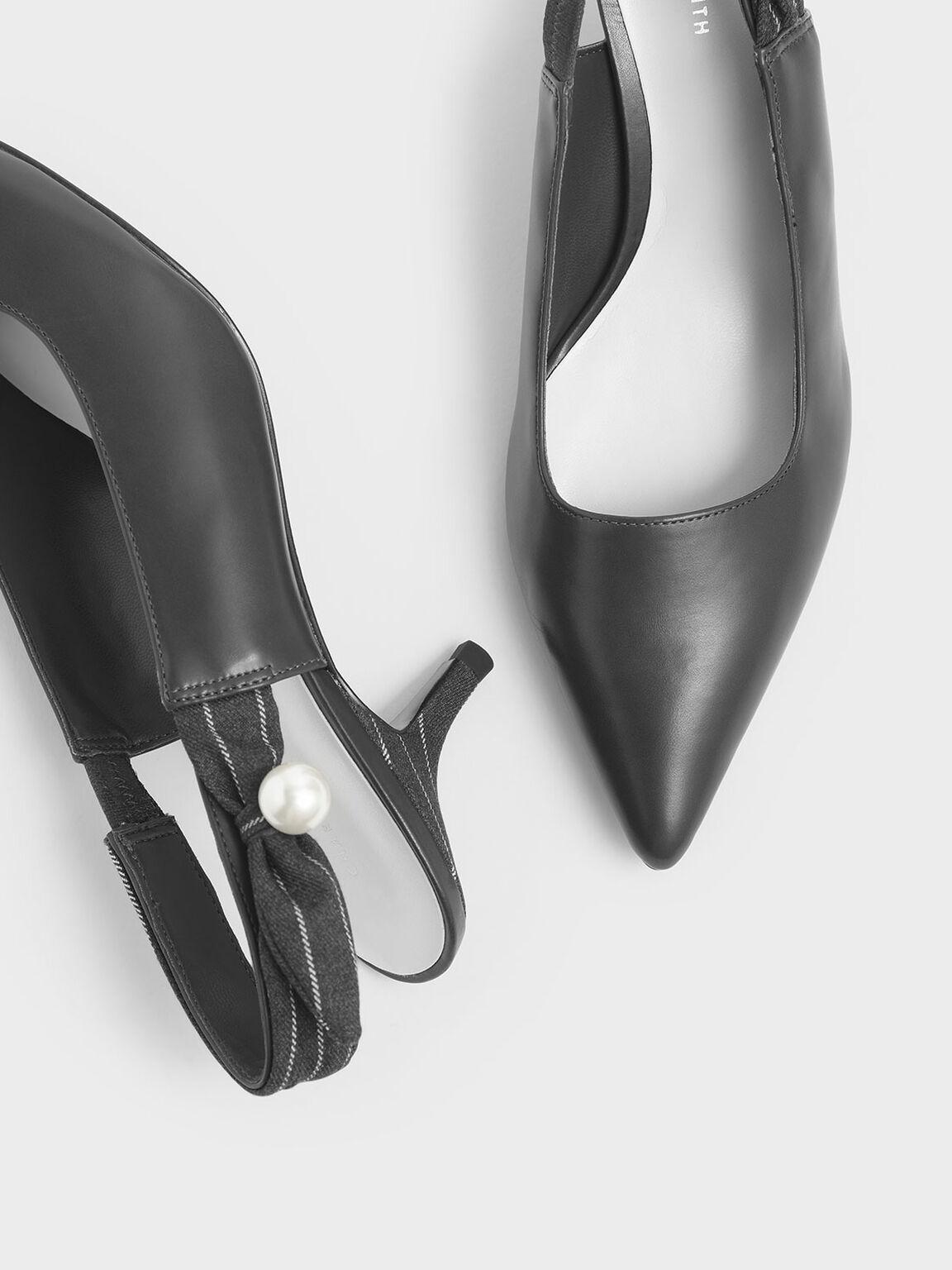 Embellished Pinstripe Slingback Kitten Heels, Dark Grey, hi-res