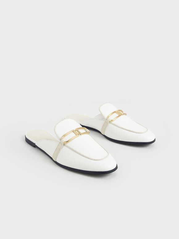 金屬釦穆勒鞋, 白色, hi-res