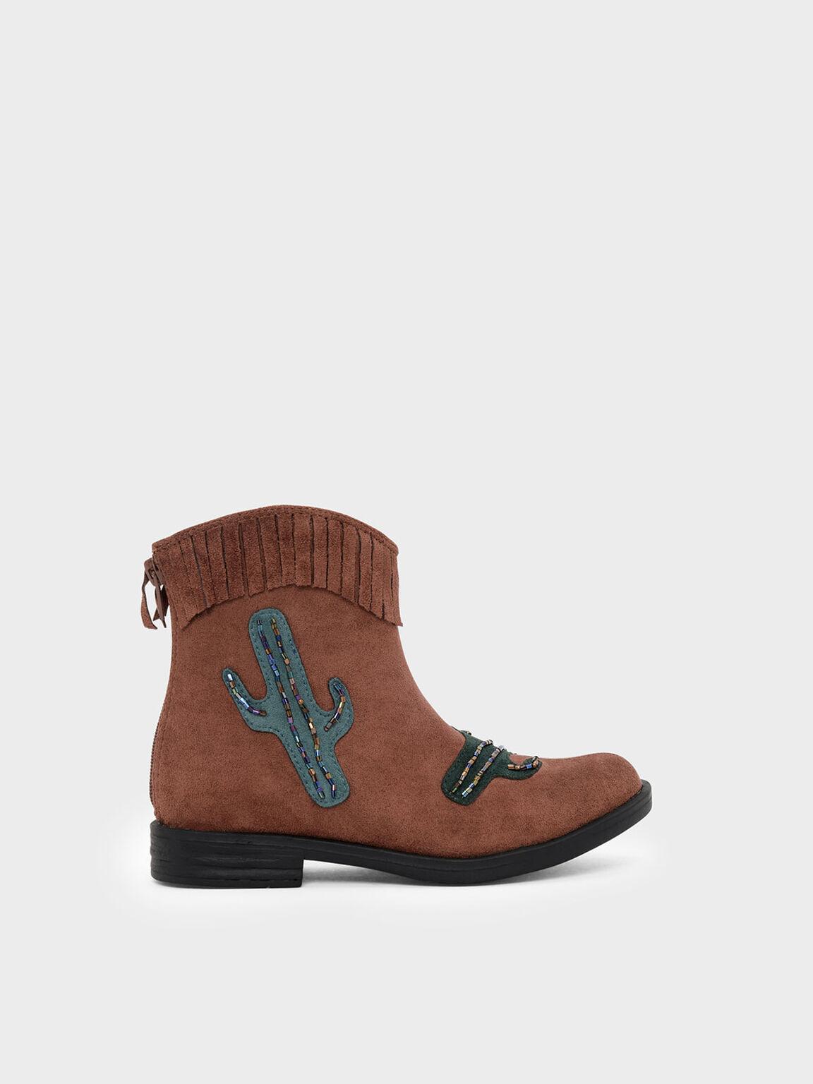 Kids Cactus Detail Boots, Brown, hi-res