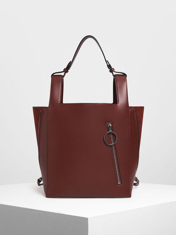 Ring Zip Pocket Square Handle Large Tote, Burgundy, hi-res