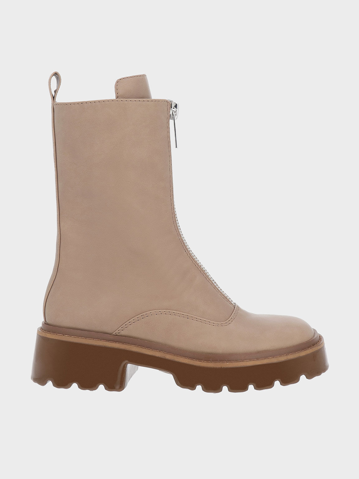 Billie 前拉鍊中筒靴, 灰褐色, hi-res
