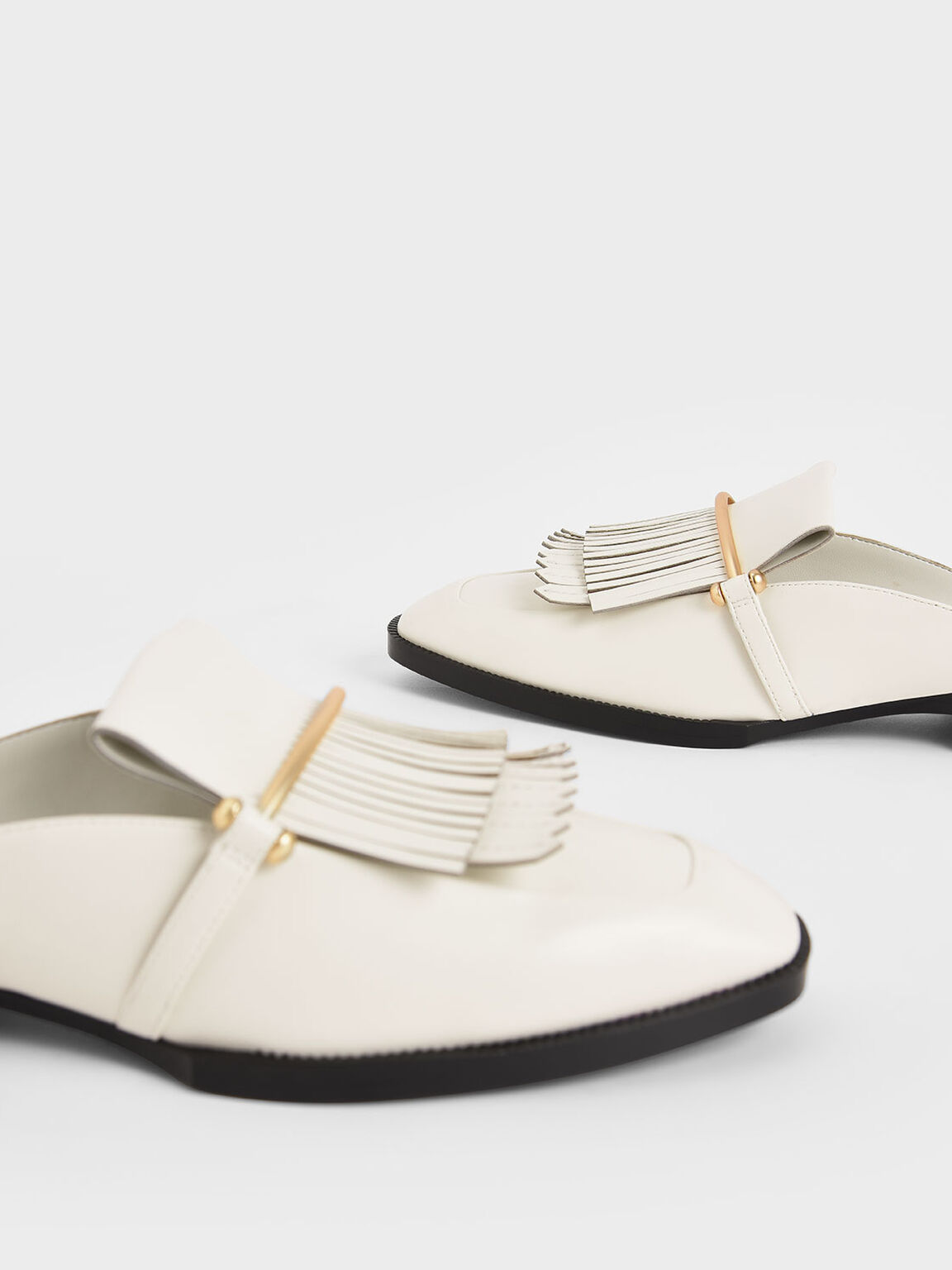 Metallic Accent Fringe Mules, Chalk, hi-res