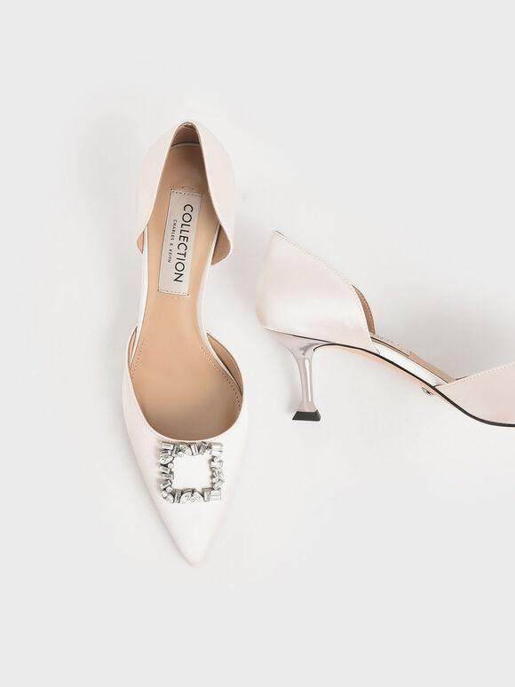 婚禮系列:緞面寶石方釦奧賽鞋, 奶油色, hi-res