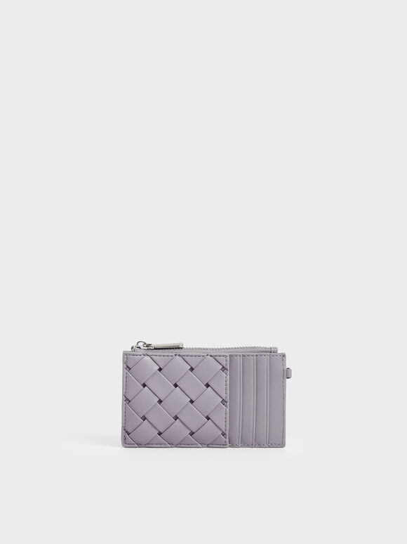 Woven Multi-Slot Card Holder, Lilac, hi-res