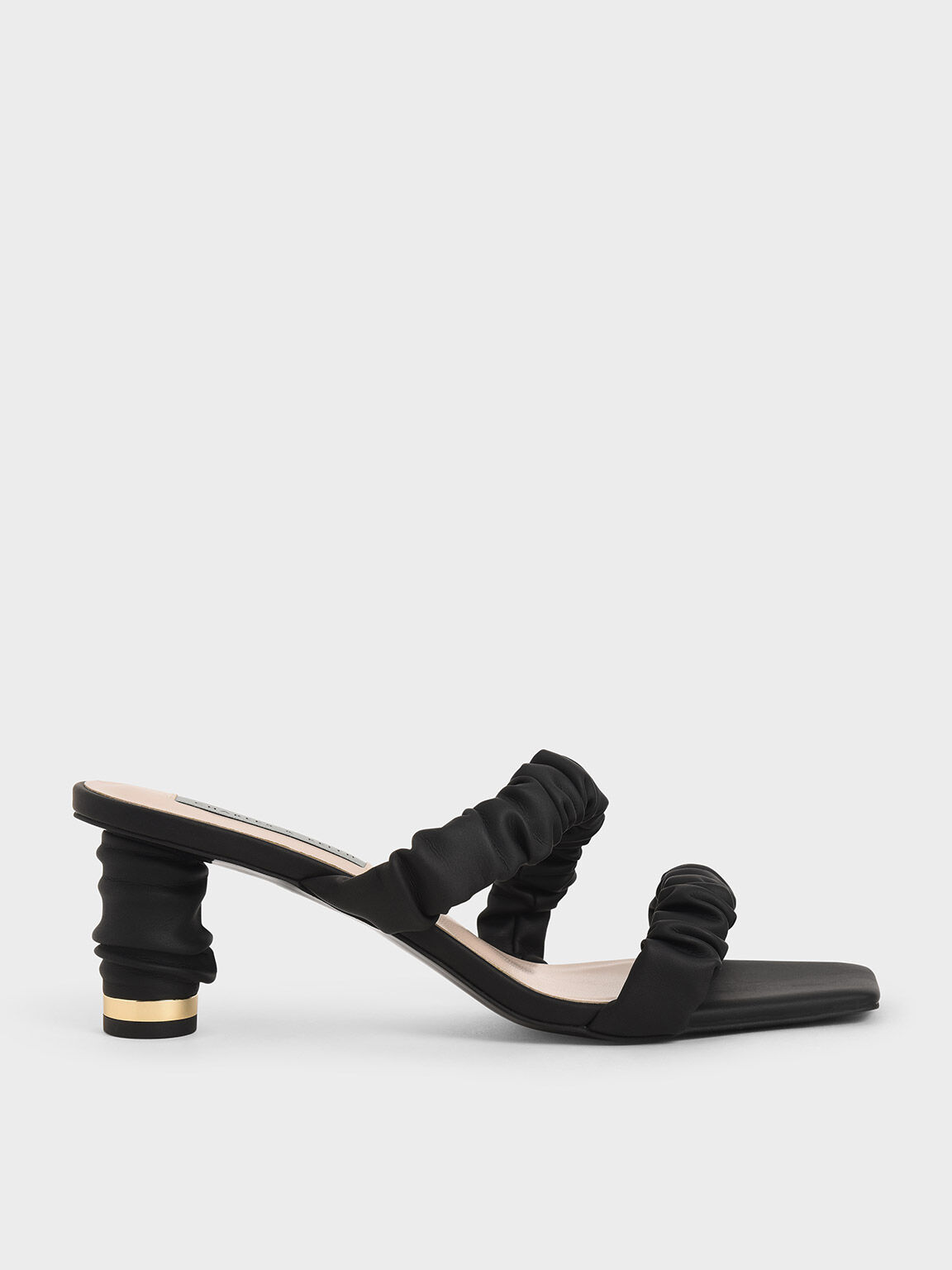 Ruched Strap Mules, Black, hi-res
