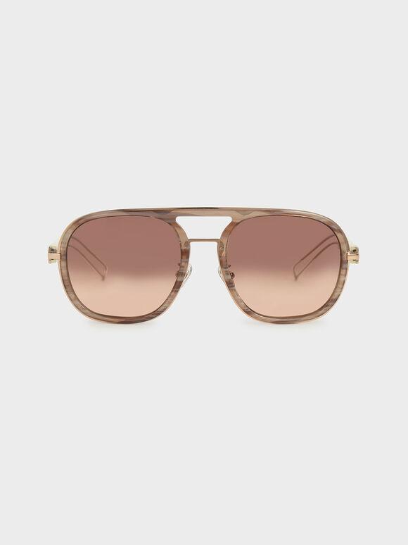 Double Bridge Sunglasses, Cream, hi-res