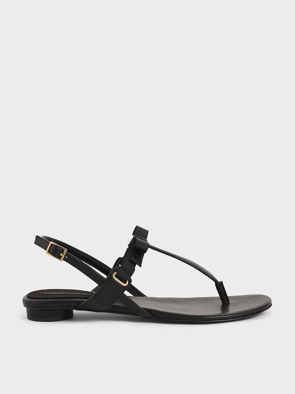 蝴蝶結T字涼鞋, 黑色, hi-res