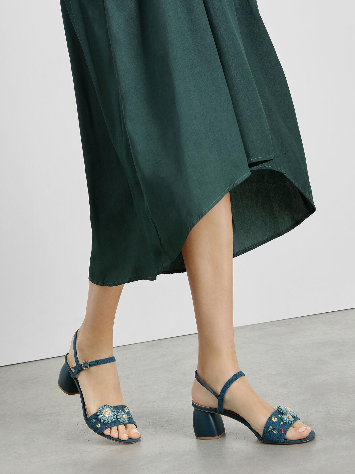 Open Toe Floral Sandals, Green, hi-res