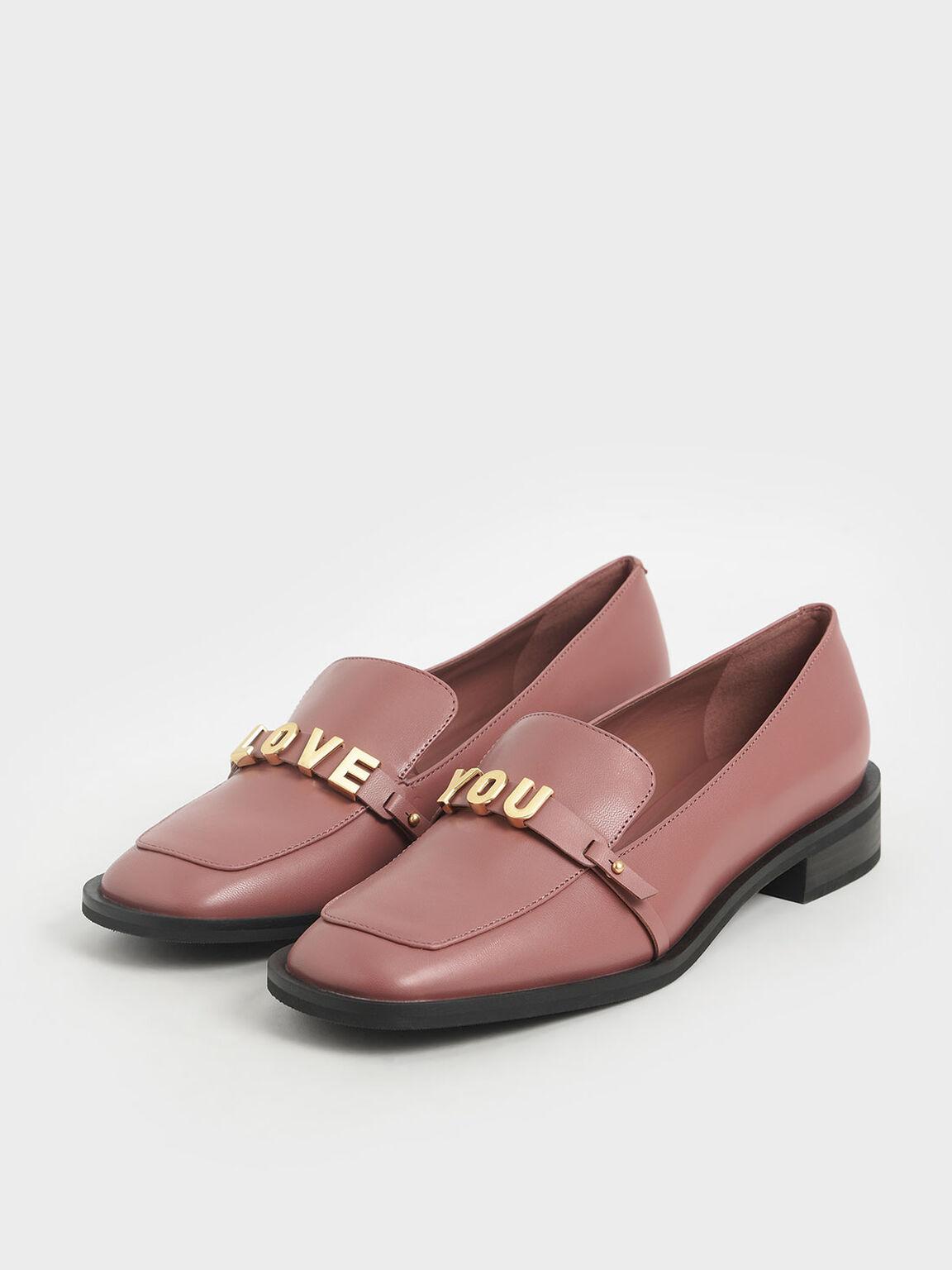 'Love You' Loafer Flats, Pink, hi-res