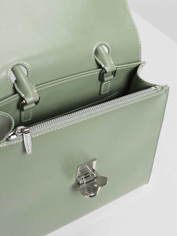 Stone Detail Push Lock Bag, Sage Green