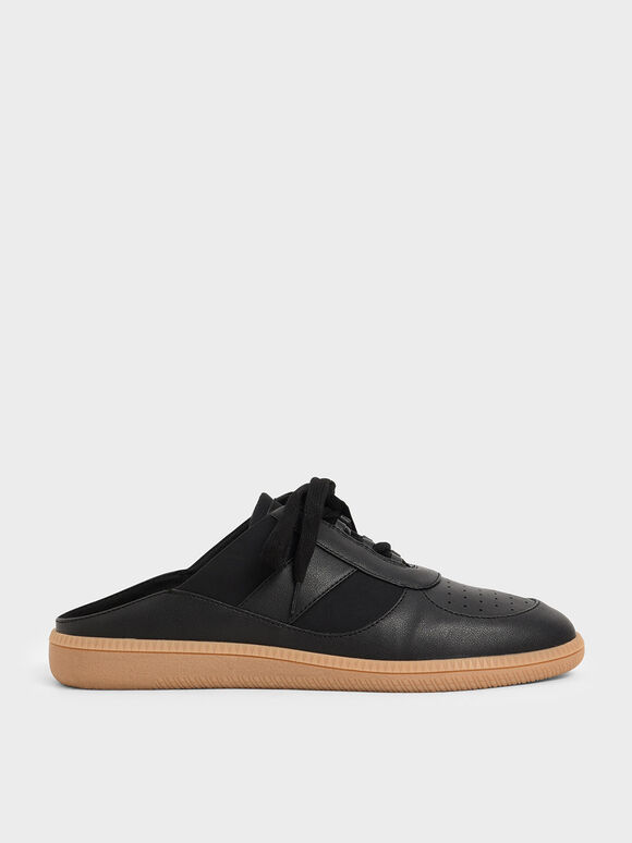 Lace Up Sneaker Mules, Black, hi-res