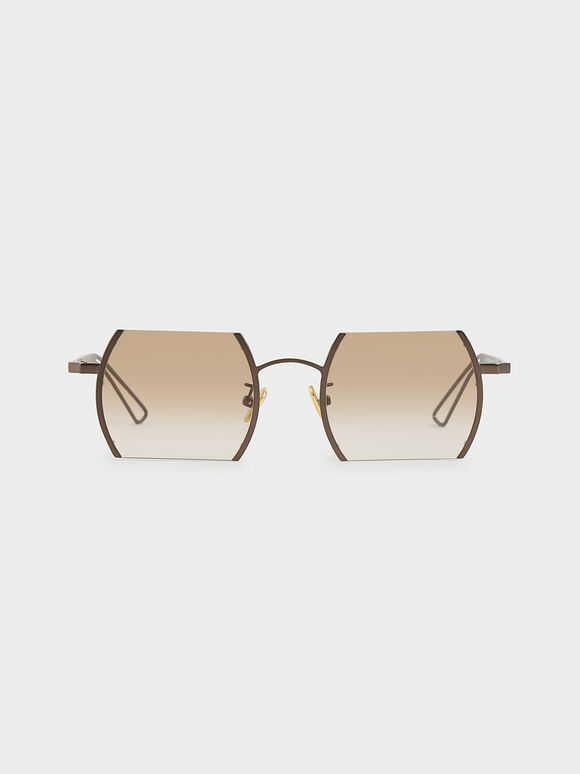 Cut-Off Frame Round Sunglasses, Brown, hi-res