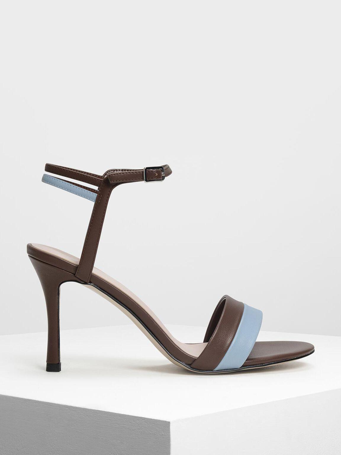Bicolour Strappy Heels, Brown, hi-res