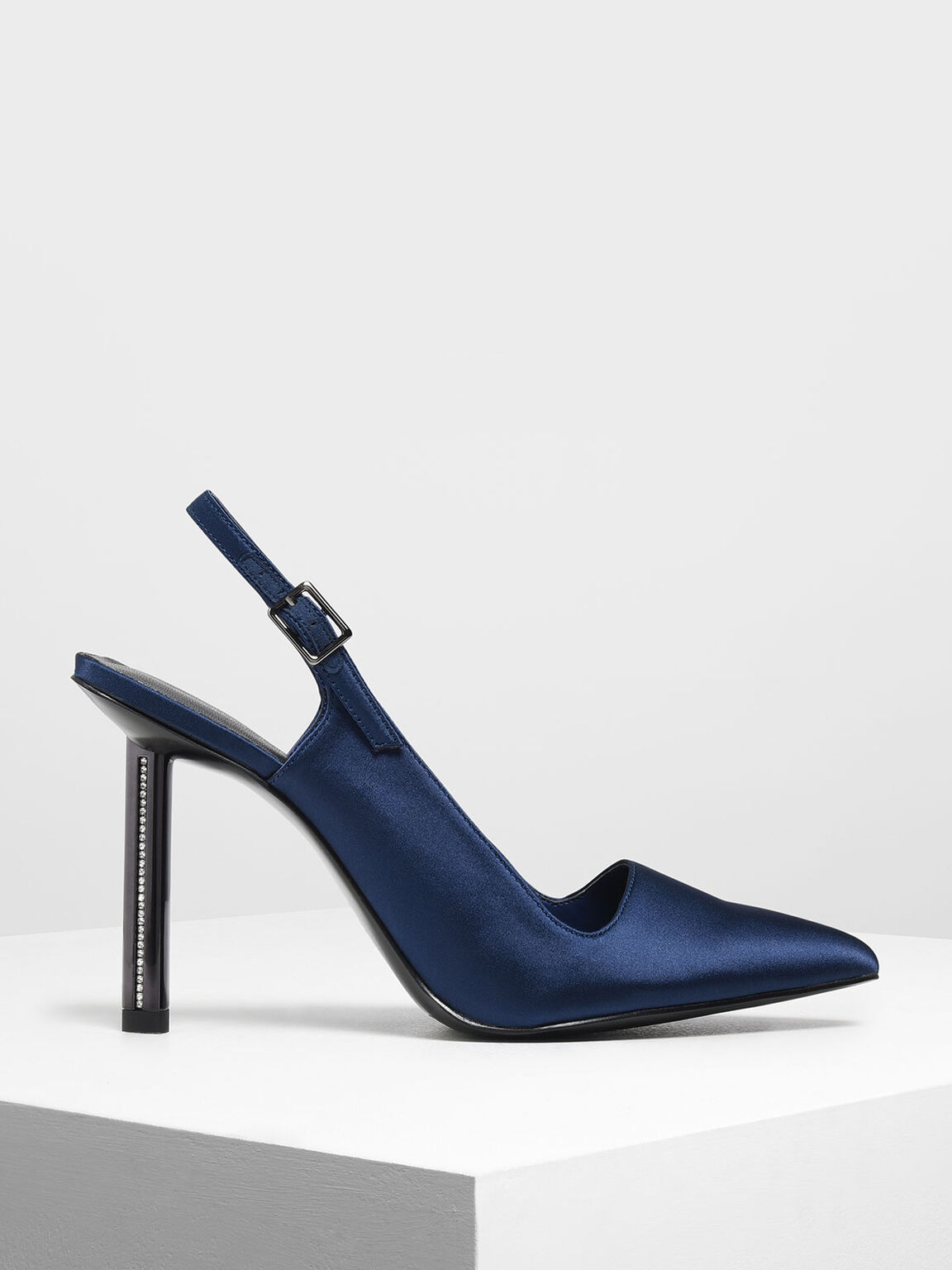 Satin Gem Encrusted Blade Heel Pumps, Blue, hi-res