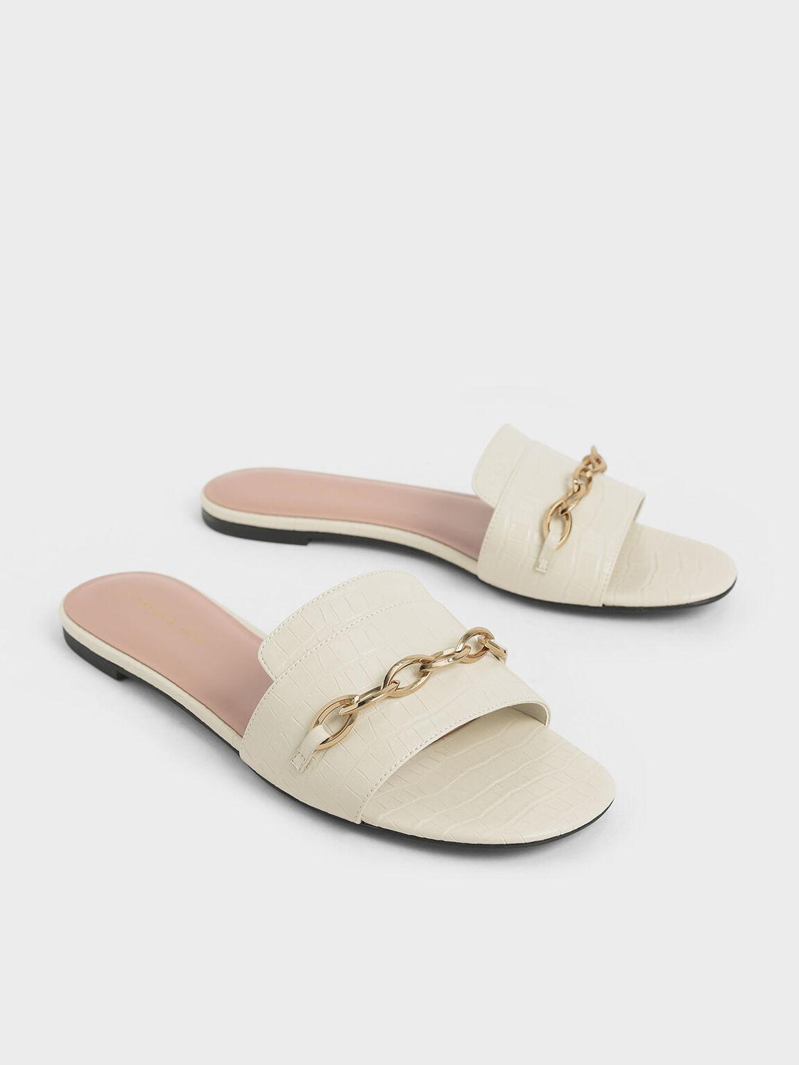 鱷魚紋鍊條拖鞋, 石灰白, hi-res