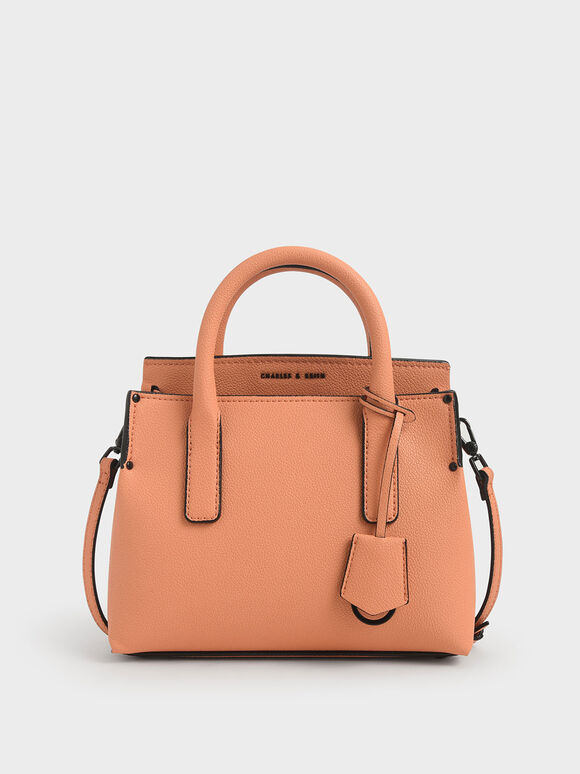 Double Handle Tote Bag, Peach, hi-res